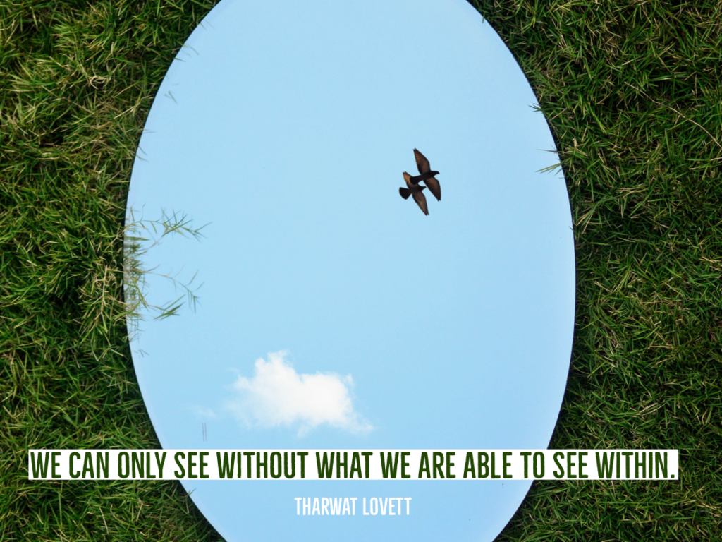 """We can only see without what we are able to see within"" - quote from Tharwat Lovett, life coach, illustrated by an image of a mirror reflecting the sky."